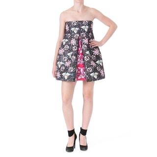 Mary Katrantzou Womens Faby Hola Satin Twill Strapless Clubwear Dress - 8