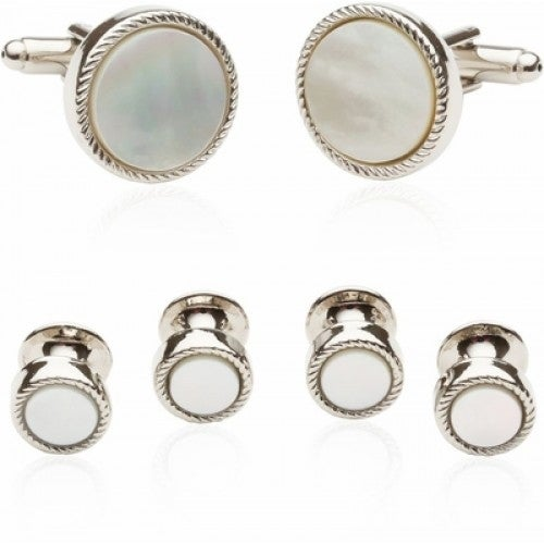 Ribbed Mother Of Pearl Silver Tuxedo Cufflinks and Studs