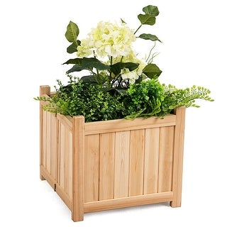 Costway Square Wood Flower Planter Box Raised Vegetable Patio Lawn Garden