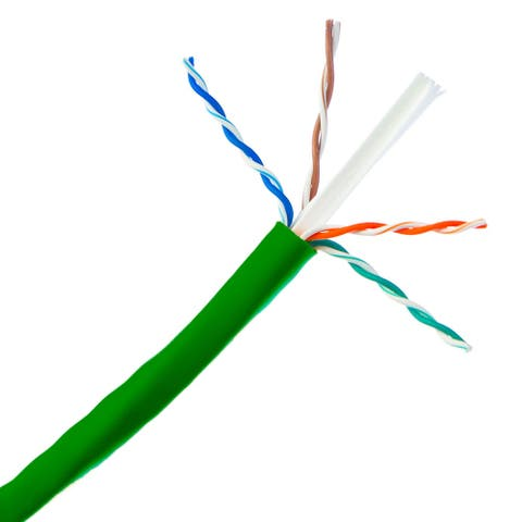 Offex Bulk Cat6a Green Ethernet Cable, 10 Gig Solid, UTP (Unshielded Twisted Pair), 500Mhz, 23 AWG, Spool, 1000 Feet