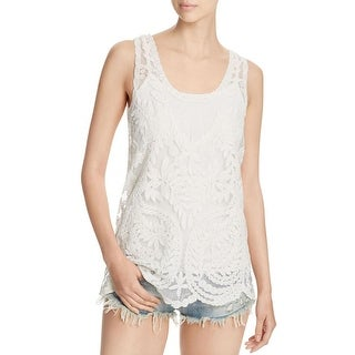 Design History Womens Tank Top Lace Mesh Inset