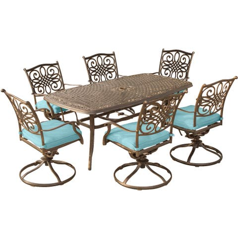Hanover Traditions Blue Aluminum 7-piece Dining Set with 72-inch x 38-inch Cast-top Table