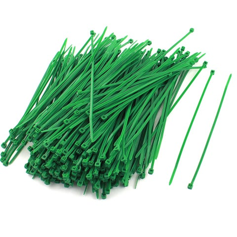 Unique Bargains 300 Pcs Green Plastic Self Locking Packaging Cable Zip Ties Fastener 4mmx145mm