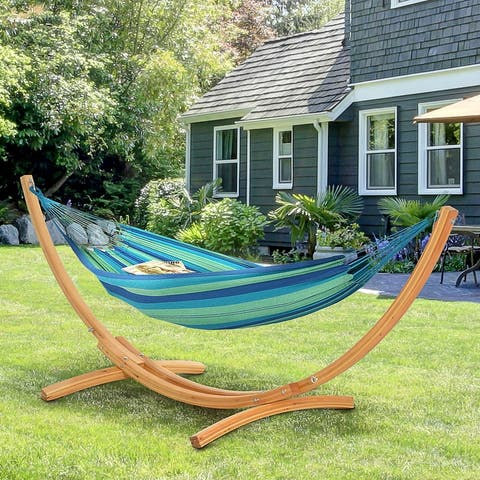 Outsunny 11' Wooden Hammock Stand Universal Garden Picnic Camp Accessories, 484lbs