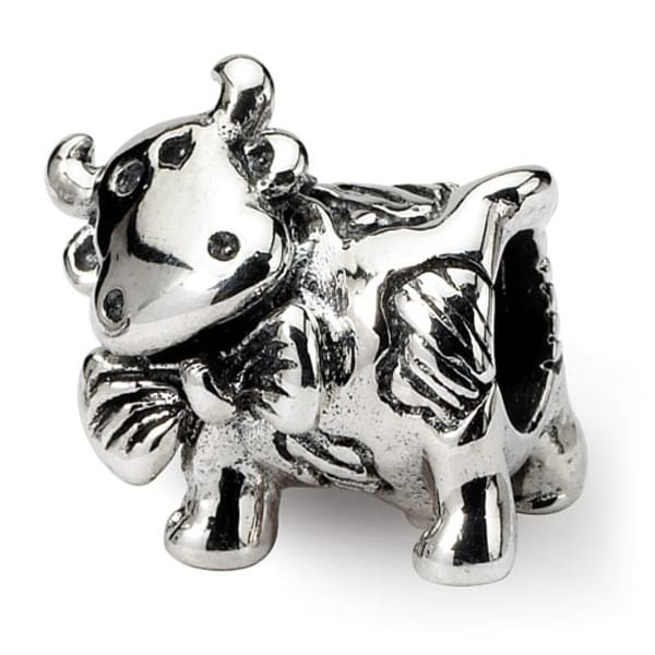 Sterling Silver Reflections Dairy Cow Bead (4mm Diameter Hole)