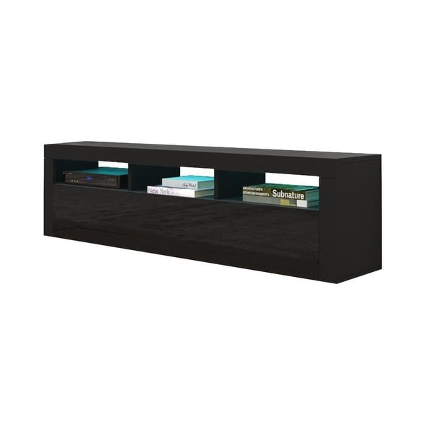 """Milano Classic Wall Mounted Floating 63"""" TV Stand with 16 Color LEDs. Opens flyout."""