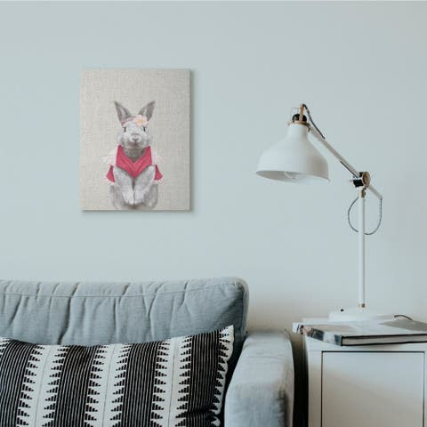 Stupell Industries Bunny Rabbit Pink Clothes Portrait Animal Painting Canvas Wall Art