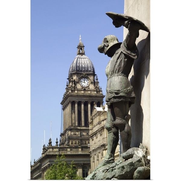 """Statue of St George and Leeds Town Hall, Yorkshire, England"" Poster Print"