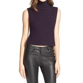 Autumn Cashmere NEW Purple Women Small S Mock Neck Cashmere Sweater