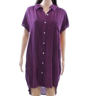 NEW Purple Womens Size Medium M One Pocket Short Sleeve Shirt Dress