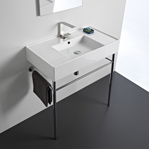 "Nameeks Scarabeo 5123-CON Scarabeo Teorema 2.0 32"" Rectangular Ceramic Console Bathroom Sink with Overflow"