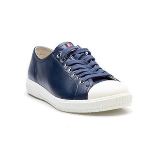 Prada Men's Flat Lace Up Calf Leather Sneaker Shoes Blue