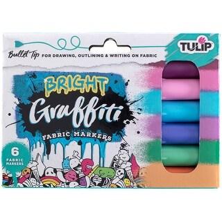 Tulip Graffiti Fabric Markers 6/Pkg-Brights - Bullet Tip