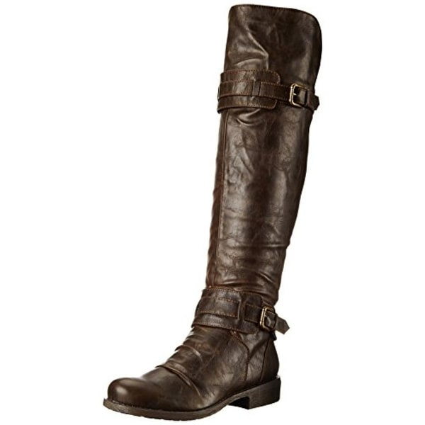 Diba Girl Womens Curl Up Motorcycle Boots Over-the--Knee Boots Side Zipper - 9.5 medium (b,m)
