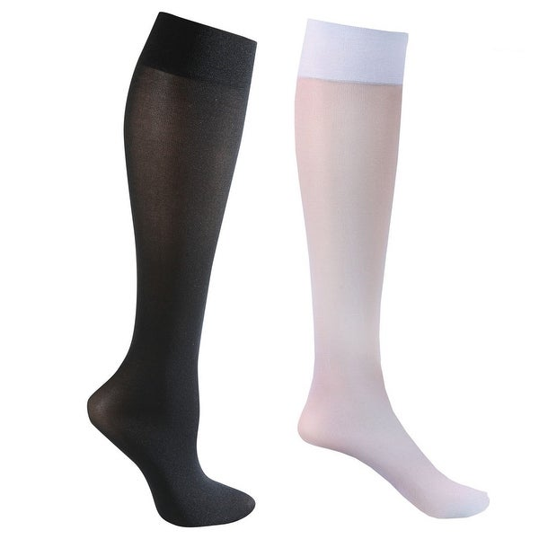 Mild Support 2 Pair Knee High Trouser Socks with 8-15 mmHg Compression - White/Black - Medium