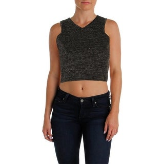 JOA Womens Crop Top Metallic Sleeveless