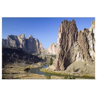 """Crooked River winding below rock spires, Smith Rock State Park, Oregon"" Poster Print"