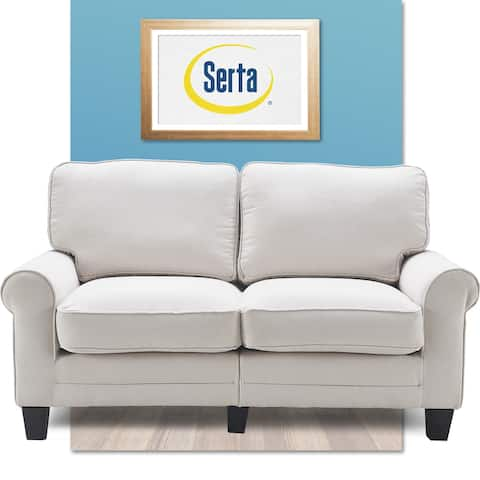 """Serta Copenhagen 61"""" Loveseat for Two People, Pillowed Back Cushions and Rounded Arms, Durable Modern Upholstered Fabric"""