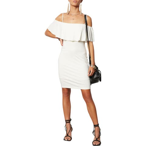 Tart Collections Alessandra Women's Off The Shoulder Popover Mini Sheath Dress