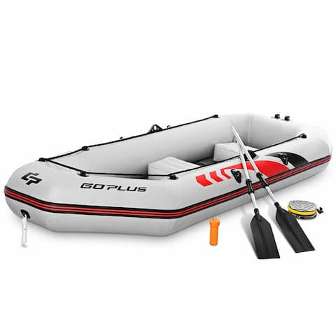 Goplus 3-4 Persons Inflatable Fishing Boat w/ Oars and Air Pump Water