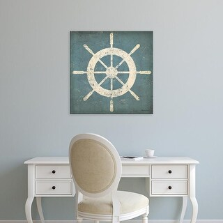 Easy Art Prints Wild Apple's 'Nautical Shipwheel Blue' Premium Canvas Art