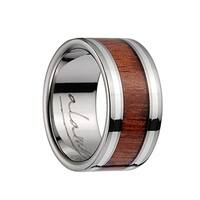 Titanium Flat Wedding Band With Pink Ivory Inlay & Silver Lining - 10mm
