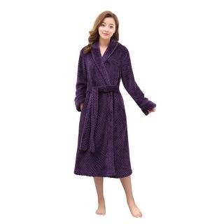 Flannel Lightweight Kimono Robe / Bath Robes for Women Black S/M