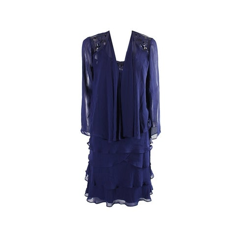 Slny Sapphire Sequin Tiered Cocktail Dress And Chiffon Jacket 2