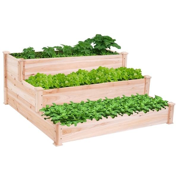 Costway Wooden Raised Vegetable Garden Bed 3 Tier Elevated Planter Kit Outdoor Gardening