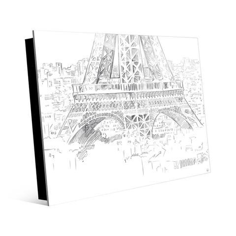 Kathy Ireland Triptych Eiffel Tower Drawing - Bottom on Acrylic Wall Art Print