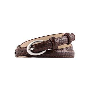 Womens Alligator Grain Embossed Single Oval Pin Buckle Slender Leather Belt Pink