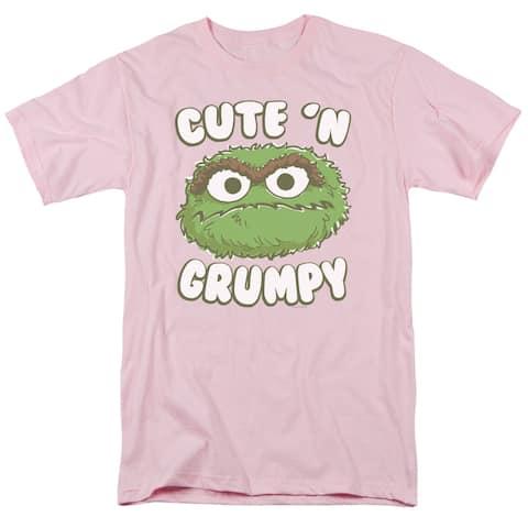 Sesame Street Cute N Grumpy Mens Short Sleeve Shirt (Pink, X-Large)
