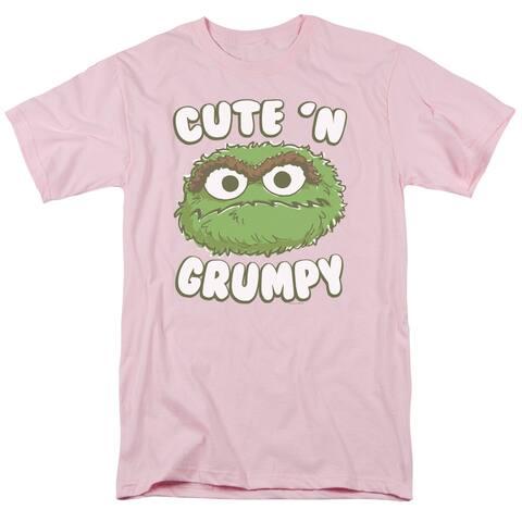 Sesame Street Cute N Grumpy Mens Short Sleeve Shirt (Pink, XX-Large)