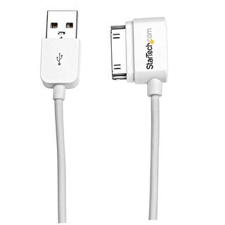 Startech - Usb2adc2ml Long Left Angle Apple 30-Pinndock To Usb Cable Iphone Ipod Ipad