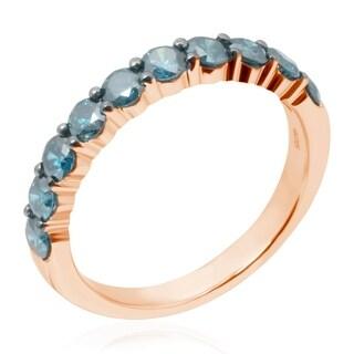 Prism Jewel 2.90MM 1.00 TDW Round Brilliant Cut Blue Color Diamond Aniversary Band