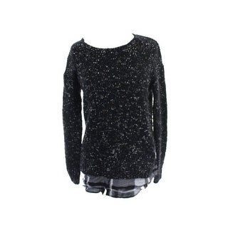 Kensie Black Long-Sleeve Nep-Knit Layered-Look Sweater XS