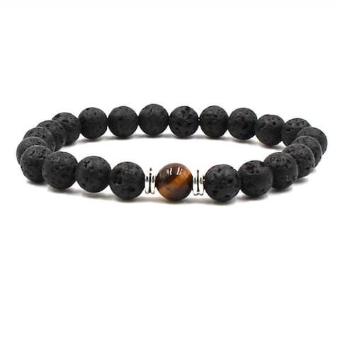 Black Lava Natural Stone 8 Reiki Chakra Stackable Beads Bracelet