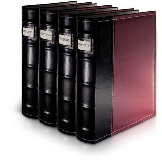 Bellagio-Italia Burgandy Leather CD/DVD Binder 4 Pack