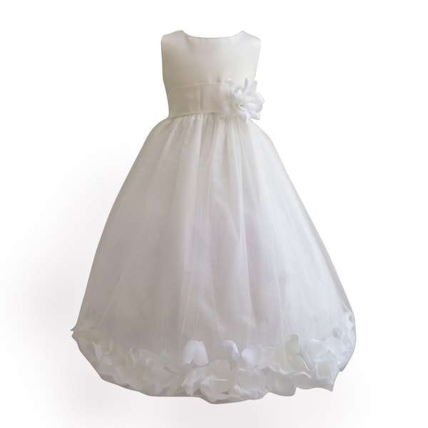 aa3ff6d2dfc2f Baby Girls Ivory Petals Satin Tulle 3 Layer Tea-Length Flower Girl Dress  6-24M