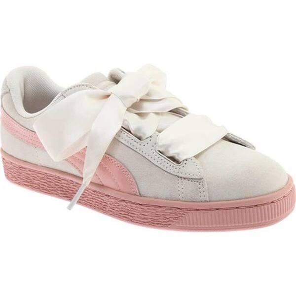 3793e4d97e7 Shop PUMA Girls  Suede Heart Jr. Sneaker Whisper White Peach Beige ...