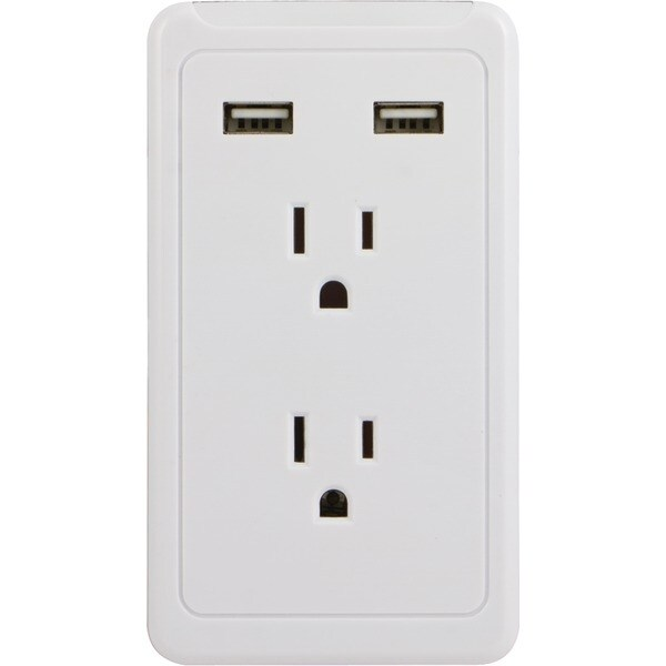Ge 13464 2-Outlet Wall Tap With 2 Usb Ports