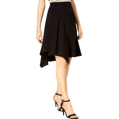 MSK Womens Petites A-Line Skirt Sharkbite Hem Knee-Length - Black