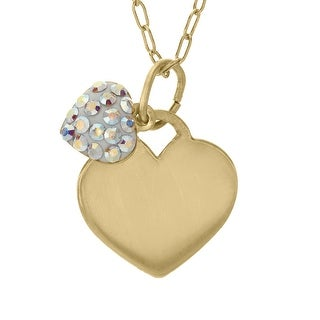 Crystaluxe Girl's Heart Pendant with Swarovski Crystals in 14K Gold-Plated Sterling Silver - Multi-Color