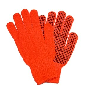 Grand Sierra Men's Knit Blaze Orange Work Gloves with Grips - One Size