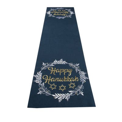 Happy Hanukkah Embroidered Table Runner, 15 by 70-Inch