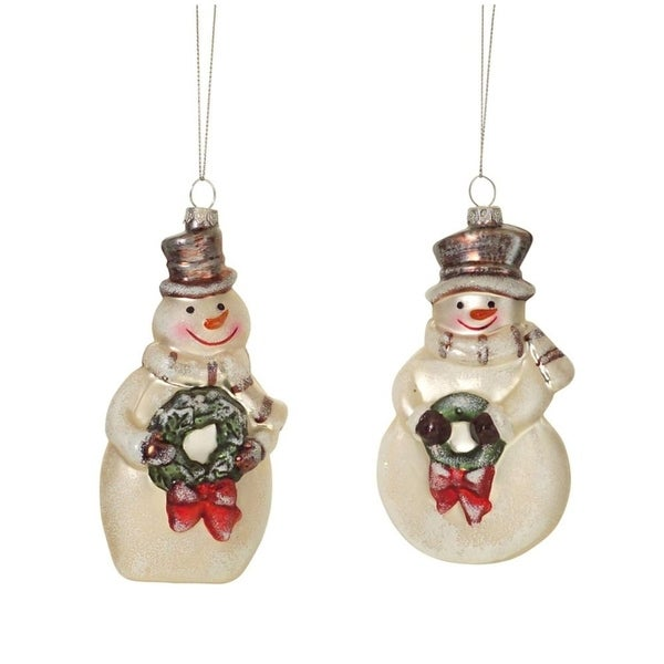 Pack of 12 Glass Snowmen with Wreaths Christmas Ornaments 5""