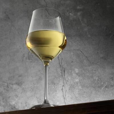 JoyJolt Layla European Crystal Long Stemmed 13.5 oz White Wine Glasses, Set of 4