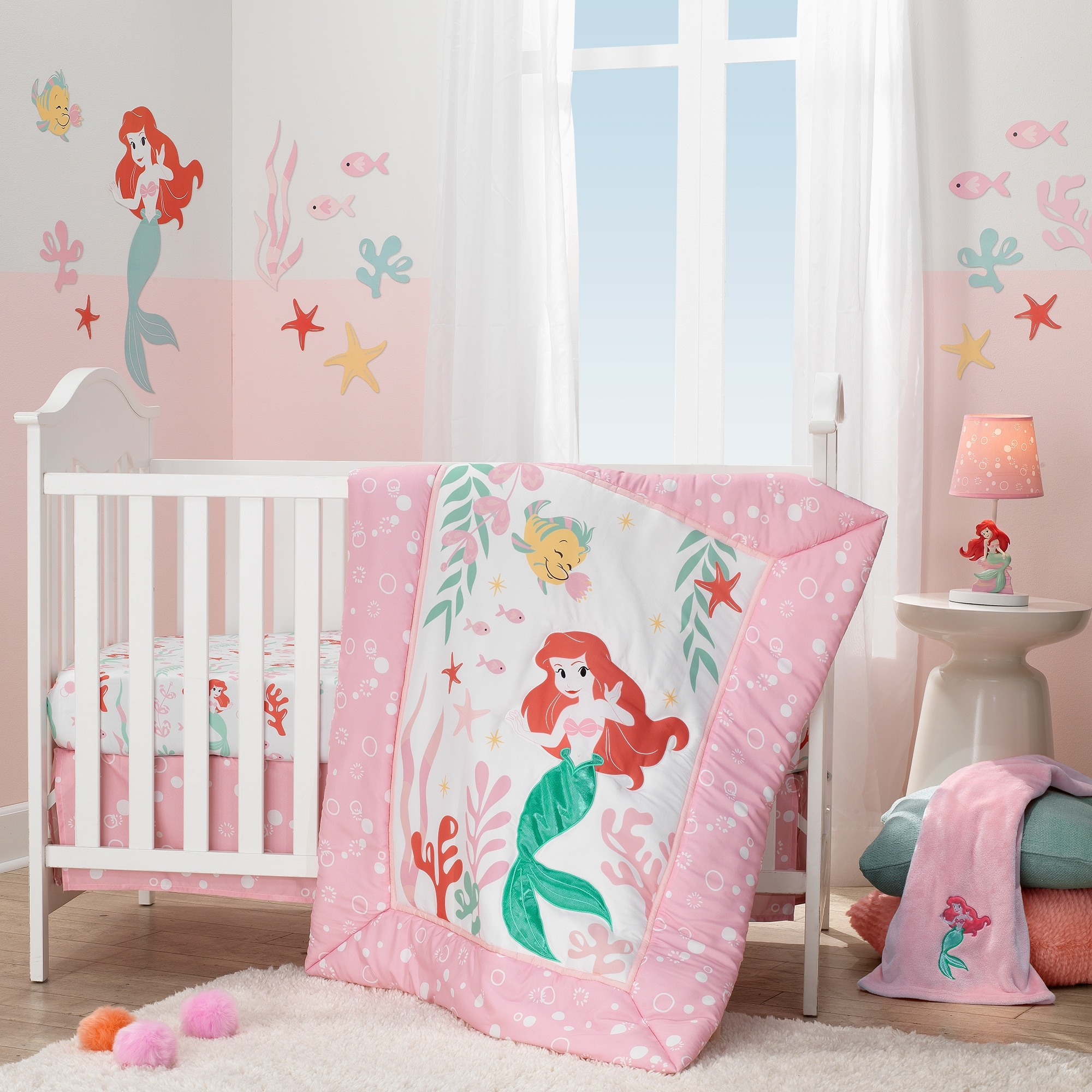 Shop Black Friday Deals On Disney Baby Ariel S Grotto Pink White Mermaid 3 Piece Crib Bedding Set By Lambs Ivy Overstock 27750692