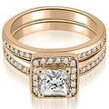 1.00 cttw. 14K Rose Gold Halo Princess and Round Cut Diamond Matching Set - Thumbnail 0