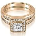 1.25 cttw. 14K Rose Gold Halo Princess and Round Cut Diamond Matching Set - Thumbnail 0